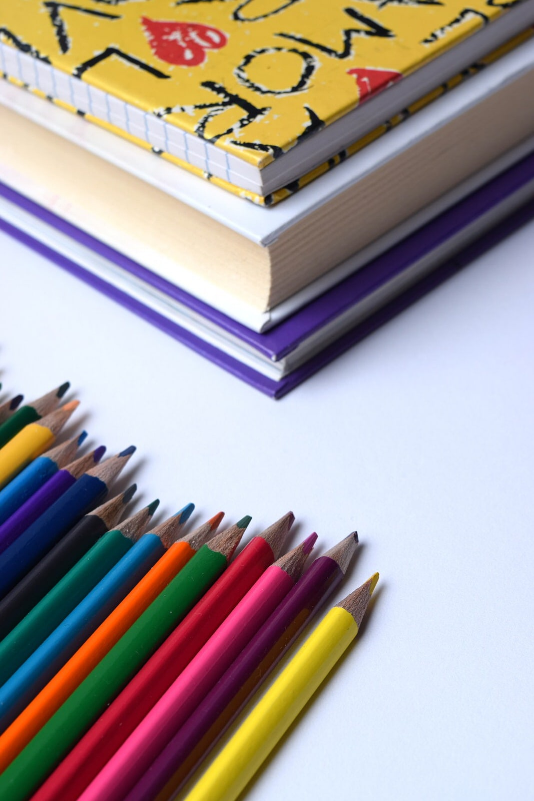 School books and pencils - education and editing.